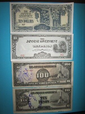 WWII Japanese Occupation Banknotes - 4 notes over 70 years old