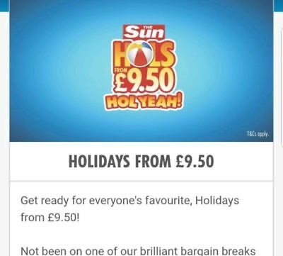 £9.50 Sun Holidays Booking Codes 10 Codes