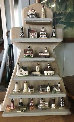 Lenox Miniature Lighthouse Collection Mini Lot of 21 Thimbles With Display Shelf