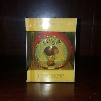 "HALLMARK  KEEPSAKE GLASS ORNAMENT  ""HOLIDAY FRIENDSHIP""   Peek-Thru  1984"