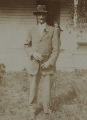 1910s RPPC, Divided Back, Sepia, Unused, Man in Suit Fedora with Bible