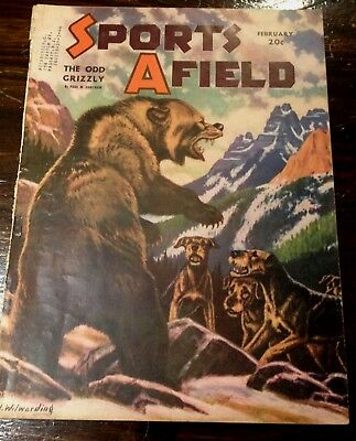 Vintage Magazine with Airedale Terriers Fighting a Bear - 1943
