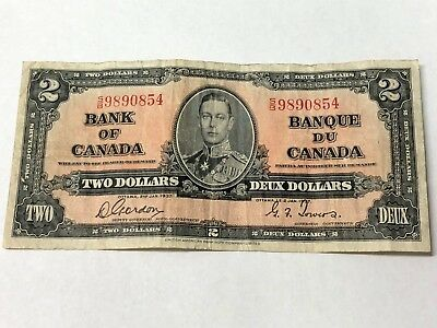 1937 Bank of Canada $2 Two Dollars note, George VI, Gordon/Towers