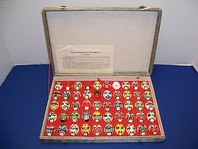 Chinese Beijing Opera 50 Facial Make-up Clay Masks Orig Doc's Cloth Covered Box