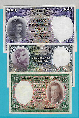 Spain-Banknote  Rare  Lot  3 Pcs  -Civil Wars  1931 - Xf