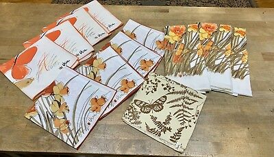 Large lot of Vintage Retro Vera Neumann Cloth Napkins Oranges, browns, yellow +