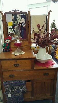 Antique New England Step Dresser Wash-Stand with mirror Pitcher Bowl and Towels