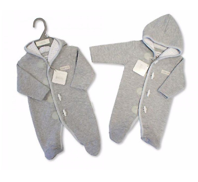 Newborn 0-3 3-6 Months old Grey Quilted Baby Boys All in One Hooded Romper