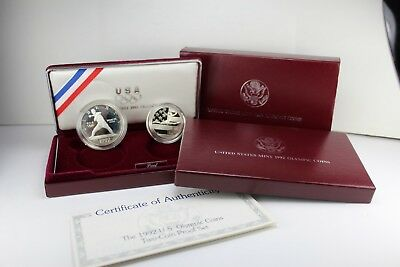 1992-S US Olympic Two-Coin Set Proof Set Baseball & Gymnast COA