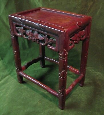 Antique Carved Hard Wood Chinese Stool Table Display Stand