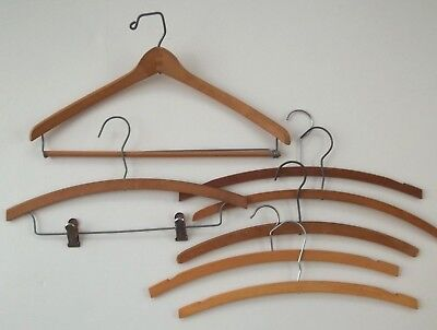 Lot of 7 Vtg Wood Wooden & Metal Clothes Hangers Coat Suit/Pants/Skirt Nice!