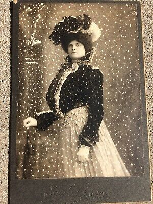 Antique Early 1900`s Fancy Lady Beautiful Outfit Photograph Photo on Cardboard