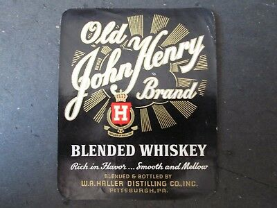 Whiskey Bottle/crate Label Old John Henry W A Haller Distilling Co Pittsburgh Pa