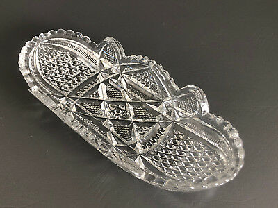 Antique Edwardian, clear pressed glass relish dish 1900s 1910s