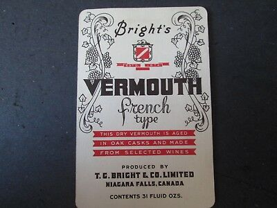 Whiskey / Wine Bottle / Crate Label Bright's Vermouth Niagara Falls Canada