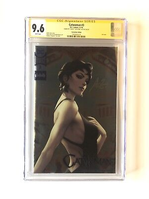 """Catwoman 3 CGC 9.6 signed by Stanley """"Artgerm"""" Lau Foil DC NYCC EXCLUSIVE"""