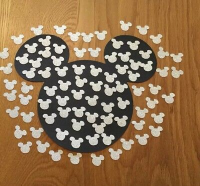 Small Disney Inspired Mickey Mouse Heads Table Confetti, 100 Silver Glitter