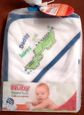 Nuby Baby Boys Lightweight Terry Hooded Alligator Towel White/Blue/Green 26x30