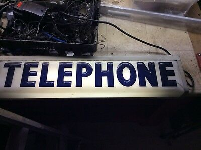 Vintage Lighted Telephone Booth Sign 1960's
