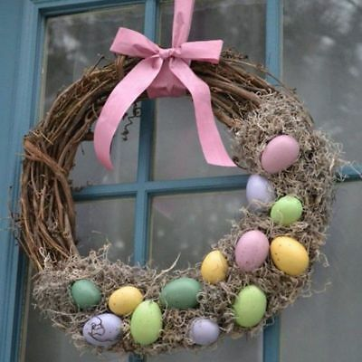 Easter Natural Dry Branches Rattan Wreath Easter Decoration DIY Garland Hanging
