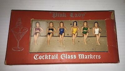 Vintage Pink Lady Barware Cocktail Glass Markers Made in England