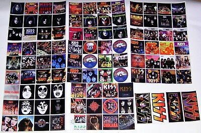 KISS -  100 STICKERS - Singles & Album Covers Collection GLOSSY, WATERPROOF