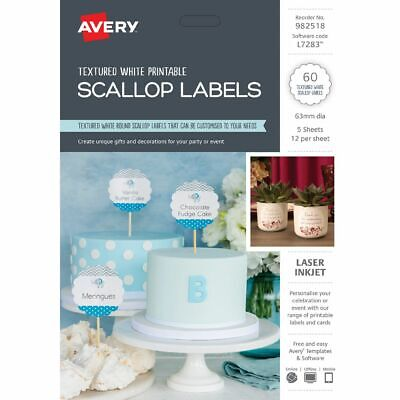 AVERY SCALLOP LABELS 63mm White 60 Pack