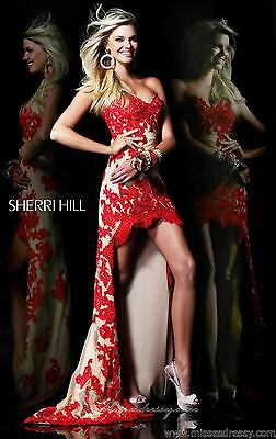 21016 Sherri Hill Hi Lo Red/Nude Lace Evening Formal Prom Gown Dress Size USA 0