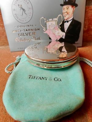 $680rrp Vintage c.2001 Tiffany Sterling 925 Silver Compact Purse Mirror Pouch