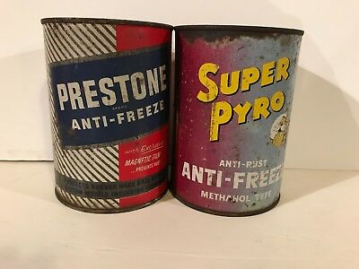 Lot Of 2 Vintage Original Prestone & Super Pyro Anti-Freeze Quart Cans