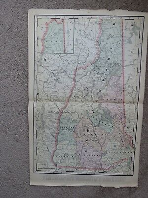Large 1901 CRAM'S ATLAS map, NEW HAMPSHIRE - original, 14 1/2 X 22 1/2