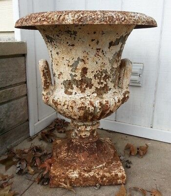 Antique Cast Iron Double Handle Garden Urn White Rusty Chippy LOCAL PICK UP ONLY