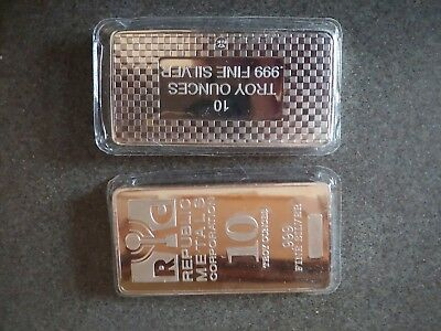 LOT OF TWO (2) - 10 oz Silver Bars Republic Metals Corp. (RMC) .999 Fine Sealed