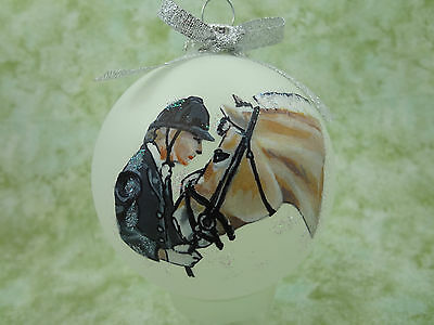 rH039 Hand-made Christmas Ornament - horse - fjord and dressage rider nuzzle