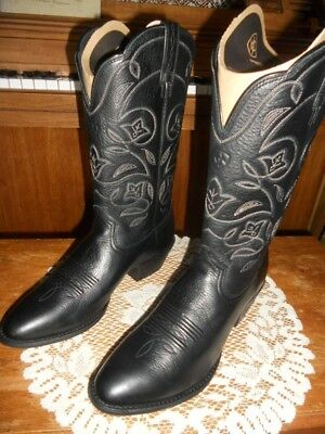 Womens Ariat Heritage Western R Toe Tall Black Boots Size 6 or 9 B NEW NIB bde935ce81a