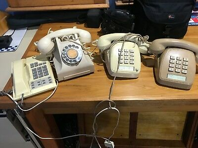 Old Telephones - One Bakelite 3 push buttons.