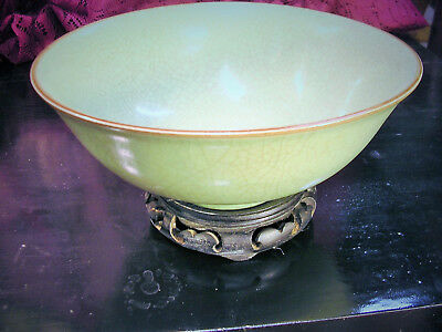 Antique Chinese IMPERIAL CELADON BOWL Double ring 6 mark KANGXI Qing dynasty