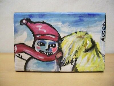 Soft Coated Wheaten Terrier Hand Painted Wood Plaque Kissing a Snowman