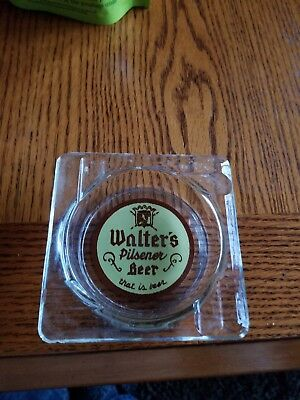 VINTAGE WALTER'S BEER glass ashtray rare EAU CLAIRE WISCONSIN .beer glass