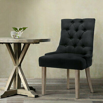 Artiss French Provincial CAYES Dining Chair Thick Seat Cushion Black 94x63x55cm