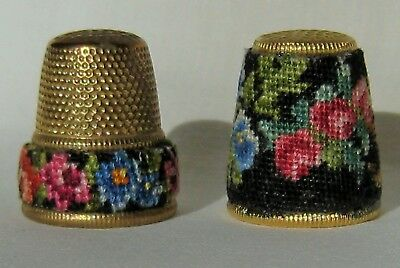 Vintage 2 Brass Tone Petit Point Floral Band & Black w/ Flowers Covered Thimble