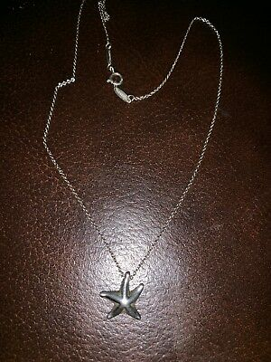 Tiffany & Co Sterling Silver Elsa Peretti Small 16mm Starfish Pendant Necklace