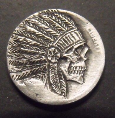 Hand Carved  Hobo nickel indian Chief  unsigned