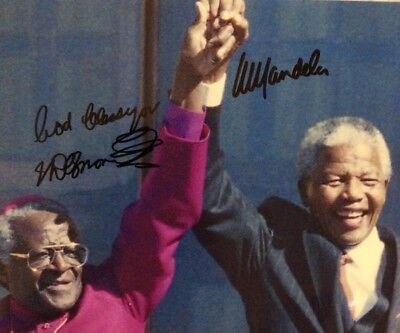 Nelson Mandela And Desmond Tutu Signed Photo South African Leaders