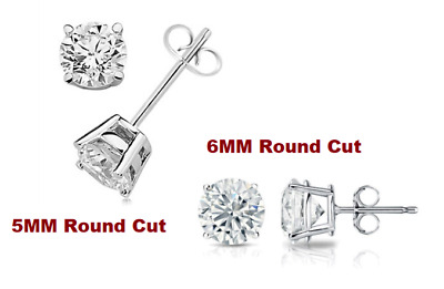 2 PAIRS ! 6MM & 5MM Round Cut Diamond Stud Earrings 14k White Gold Excellent Cut