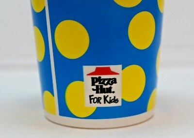NOS 1993 PIZZA HUT Plastic Glass Cup Blue Yellow Pokie Dot Fast Food Collectible