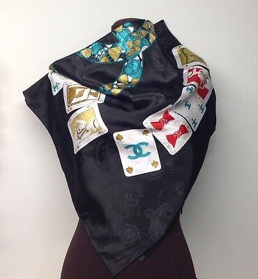 Beautiful CHANEL PARIS Playing Cards Scarf Black w/Turquoise, Gold & Cream