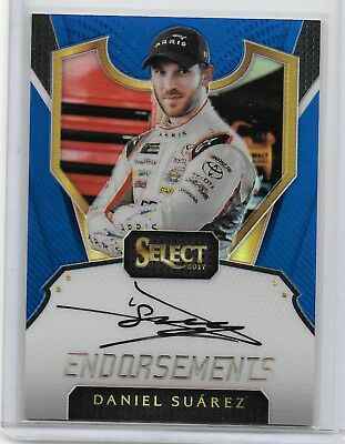 2017 Select Rare Blue 46/50 Nascar Racing Endorsements Autograph Daniel Suarez