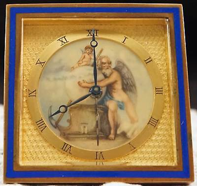 Stunning Windup Alarm Clock Porcelain Dial - Allegory Gilding Cartier Quality