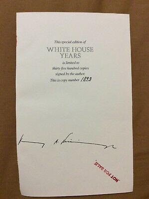 Henry Kissinger Signed Book Page Secretary Of State